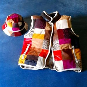 COACH Puffy Vest & Hat for Kids - XL -RARE